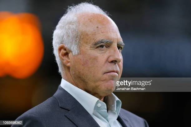 Jeffrey Lurie owner of the Philadelphia Eagles reacts before the NFC Divisional Playoff against the New Orleans Saints at the Mercedes Benz Superdome...