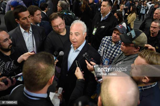 Jeffrey Lurie, owner of the Philadelphia Eagles, speaks to the media during Super Bowl Media Day at Xcel Energy Center on January 29, 2018 in St...