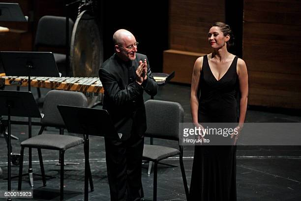 Jeffrey Milarsky leading the soprano Lara SecondHaid with Axiom in Harrison Birtwistle's 'Three Settings of Celan' at Peter Jay Sharp Theater at the...