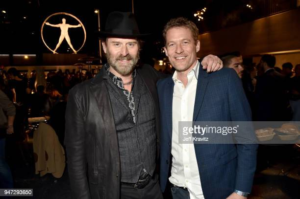 Jeffrey Nordling and James Tupper attend the Los Angeles Season 2 premiere of the HBO Drama Series WESTWORLD at The Cinerama Dome on April 16 2018 in...