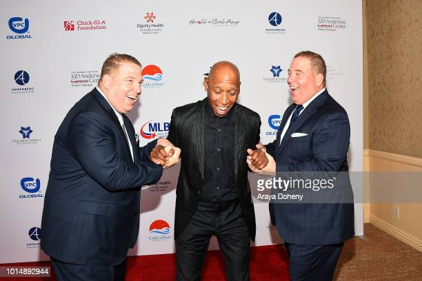 Jeffrey Osborne and the Pump brothers attend the 18th Annual Harold and Carole Pump Foundation Gala at The Beverly Hilton Hotel on August 10 2018 in...
