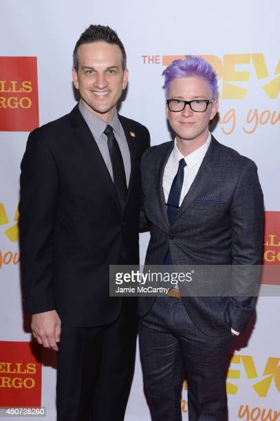Jeffrey Paul Wolff and Blogger Tyler Oakley attend the Trevor Project's 2014 'TrevorLIVE NY' Event at the Marriott Marquis Hotel on June 16 2014 in...