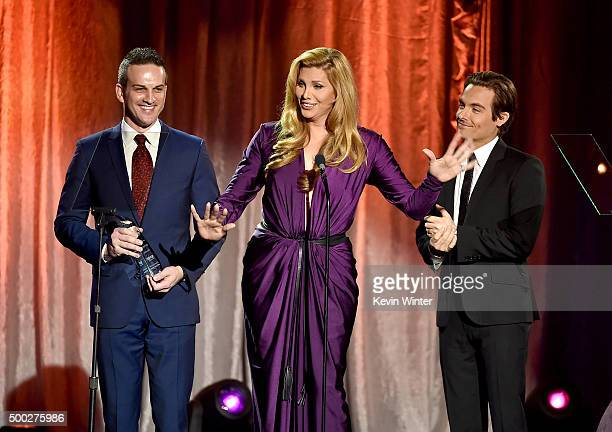 Jeffrey Paul Wolff of Wells Fargo and actors Candis Cayne and Kevin Zegers speak onstage during TrevorLIVE LA 2015 at Hollywood Palladium on December...