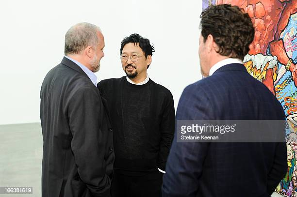 Jeffrey Poe Takashi Murakami and Tim Blum attends the Takashi Murakami Private Preview at Blum Poe on April 11 2013 in Los Angeles California