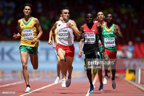 Jeffrey Riseley of Australia Adam Kszczot of Poland and Alfred Kipketer of Kenya cross the finish line in the Men's 800 metres heats during day one...