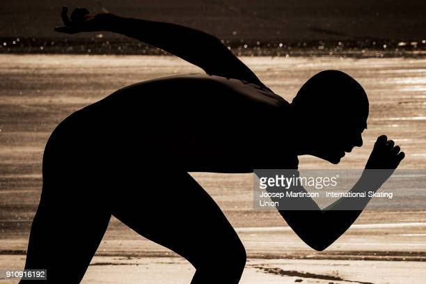 Jeffrey Rosanelli of Italy competes in the Men's 1000m during the ISU Junior World Cup Speed Skating at Olympiaworld Ice Rink on January 27, 2018 in...