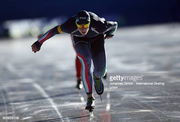 Jeffrey Rosanelli of Italy participates in the men 1500 m heats during day 1 of ISU speed skating junior world cup at ice rink Pine stadium on...