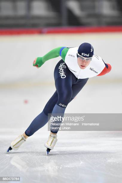 Jeffrey Rosanelli of Italy performs during the Men 1500 Meter at the ISU ISU Junior World Cup Speed Skating at Max Aicher Arena on November 26 2017...