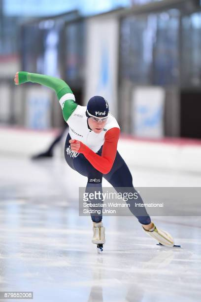 Jeffrey Rosanelli of Italy performs during the Men 500 Meter at the ISU Junior World Cup Speed Skating at Max Aicher Arena on November 26 2017 in...