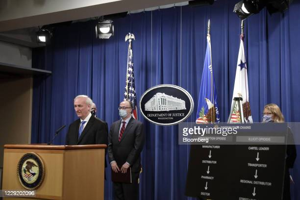Jeffrey Rosen, deputy attorney general, speaks during a news conference at the Department of Justice in Washington, D.C., U.S., on Wednesday, Oct....