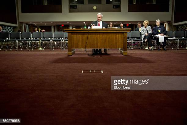 Jeffrey Rosen deputy transportation secretary nominee for US President Donald Trump speaks during a Senate Transportation Science and Transportation...