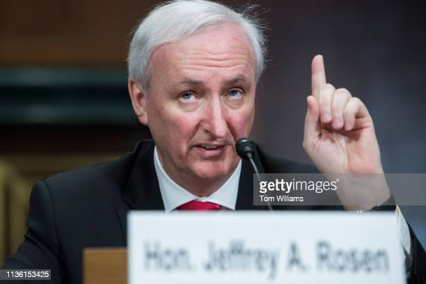 Jeffrey Rosen nominee to be deputy attorney general testifies during his Senate Judiciary Committee confirmation hearing in Dirksen Building on...