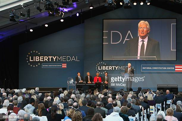 Jeffrey Rosen Thupten Jinpa Dr Carolyn Jacobs Richard J Davidson and Richard Gere attend the 2015 Liberty Medal Ceremony honoring His Holiness the...