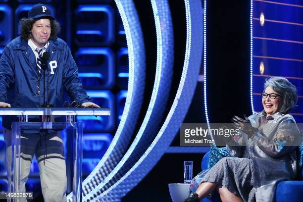 Jeffrey Ross and Roseanne Barr speak onstage at the Comedy Central Roast of Roseanne Barr held at Hollywood Palladium on August 4, 2012 in Hollywood,...