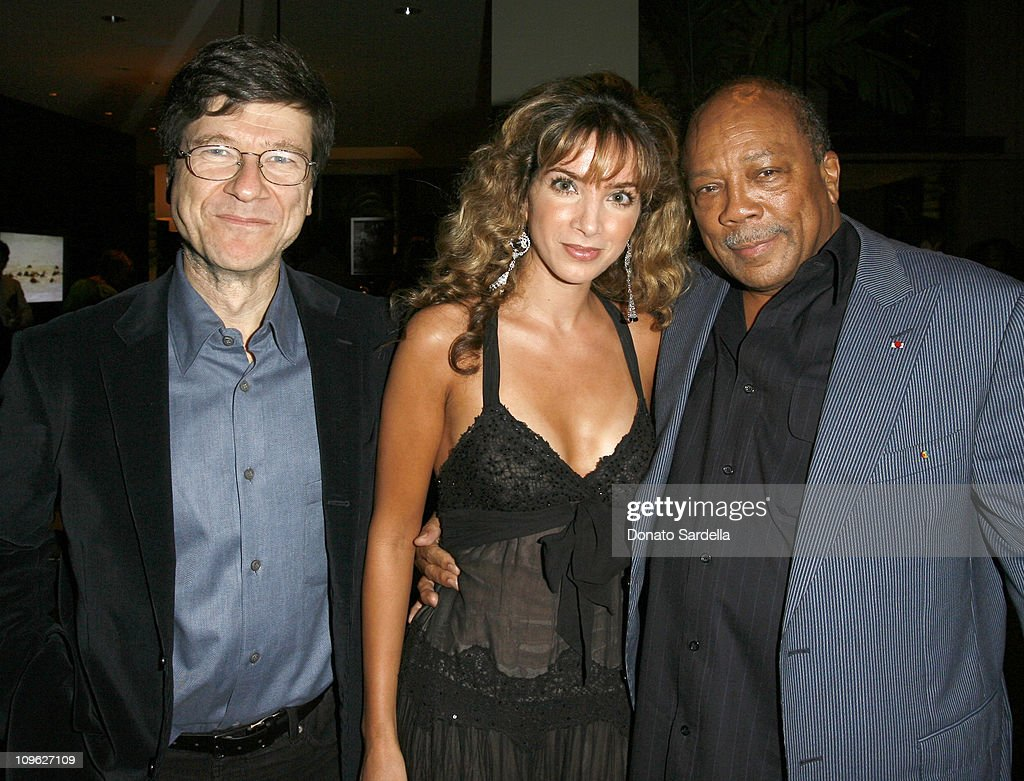 Jeffrey Sachs, guest and Quincy Jones during Millennium Promise West Coast Launch Honoring Jeffrey Sachs at Private Home in Beverly Hills, CA, United States.