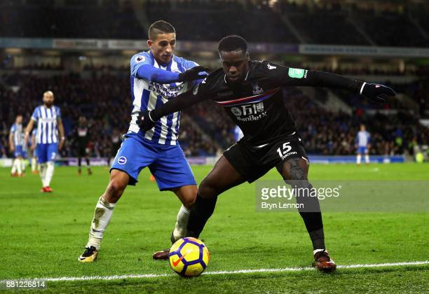Jeffrey Schlupp of Crystal Palace and Anthony Knockaert of Brighton and Hove Albion in action during the Premier League match between Brighton and...