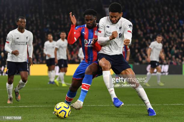 Jeffrey Schlupp of Crystal Palace and Joe Gomez of Liverpool in action during the Premier League match between Crystal Palace and Liverpool FC at...
