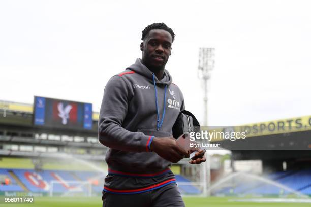 Jeffrey Schlupp of Crystal Palace arrives at the stadium prior to the Premier League match between Crystal Palace and West Bromwich Albion at...