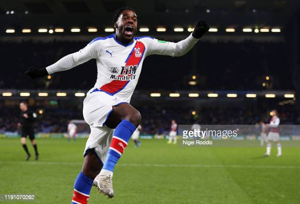 Jeffrey Schlupp of Crystal Palace celebrates after scoring his team's second goal during the Premier League match between Burnley FC and Crystal...