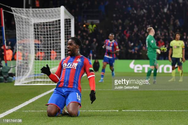 Jeffrey Schlupp of Crystal Palace celebrates after scoring his team's first goal during the Premier League match between Crystal Palace and AFC...