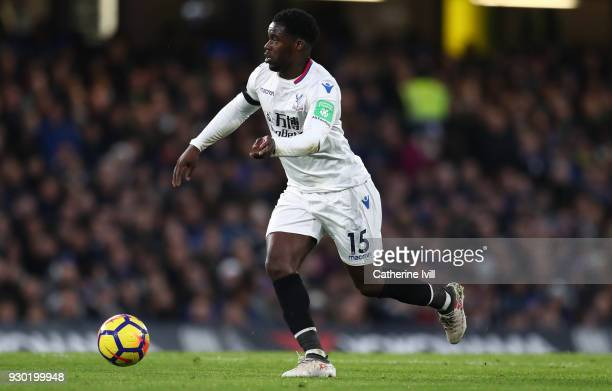 Jeffrey Schlupp of Crystal Palace during the Premier League match between Chelsea and Crystal Palace at Stamford Bridge on March 10 2018 in London...