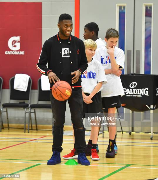 Jeffrey Schlupp of Crystal Palace football team looks on during an NBA Cares Clinic as part of the 2018 NBA London Global Game at Citysport on...