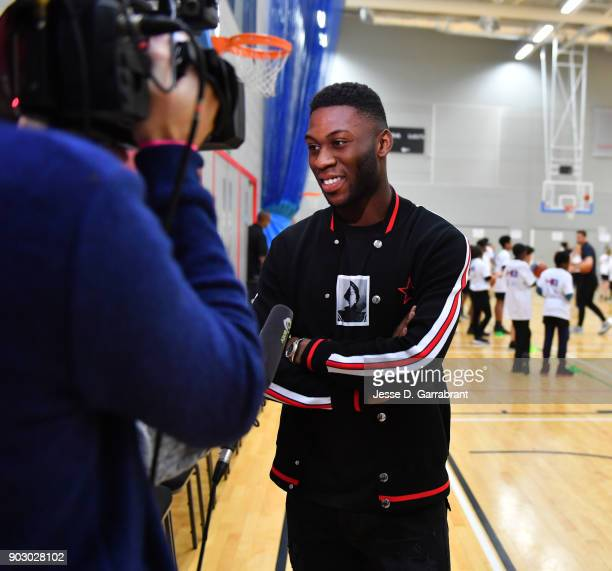 Jeffrey Schlupp of Crystal Palace football team speaks to the media during an NBA Cares Clinic as part of the 2018 NBA London Global Game at...