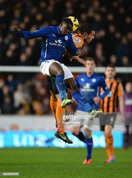 Jeffrey Schlupp of Leicester City and Jake Livermore of Hull City compete for the ball during the Barclays Premier League match between Hull City and...