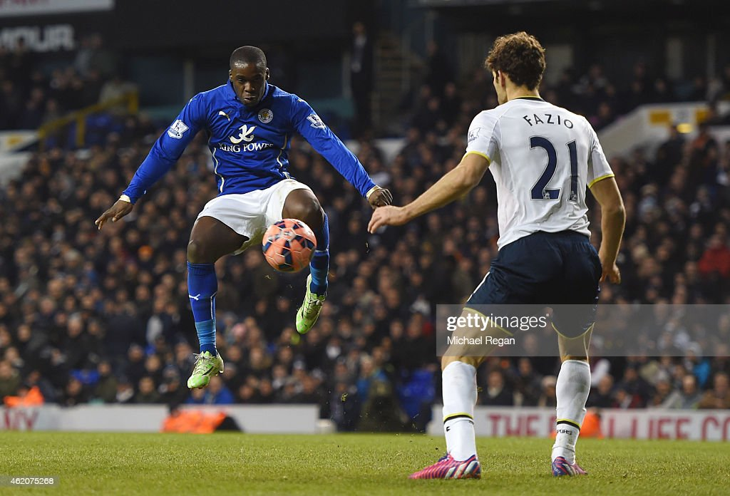 Jeffrey Schlupp of Leicester City controls the ball just prior to scoring his team's second goal during the FA Cup Fourth Round match between Tottenham Hotspur and Leicester City at White Hart Lane on January 24, 2015 in London, England.