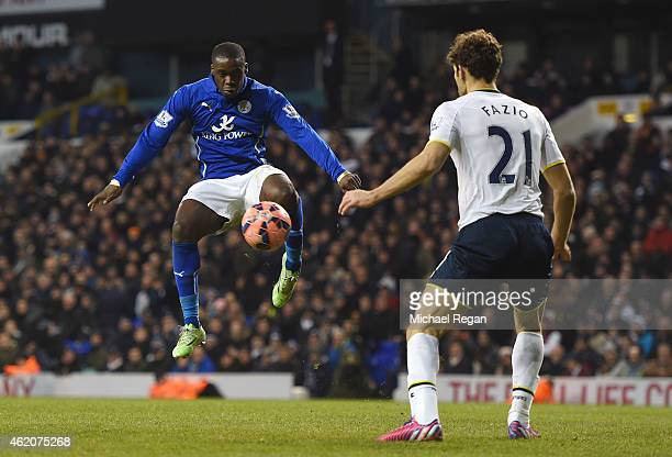 Jeffrey Schlupp of Leicester City controls the ball just prior to scoring his team's second goal during the FA Cup Fourth Round match between...