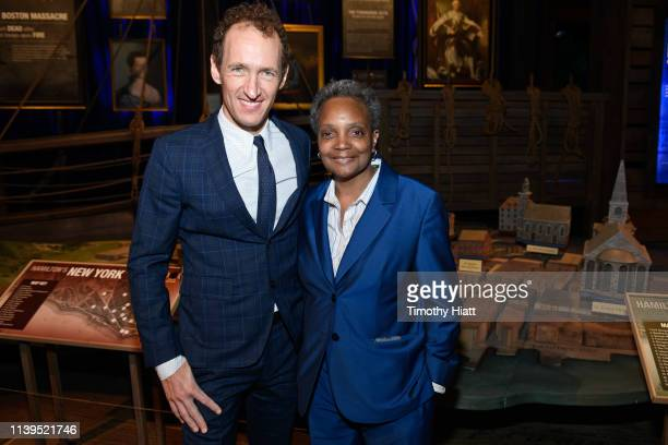 Jeffrey Seller and Chicago MayorElect Lori Lightfoot attend the HAMILTON THE EXHIBITION WORLD PREMIERE at Northerly Island on April 26 2019 in...
