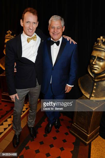 Jeffrey Seller and Sir Cameron Mackintosh attend The Olivier Awards with Mastercard at Royal Albert Hall on April 8 2018 in London England