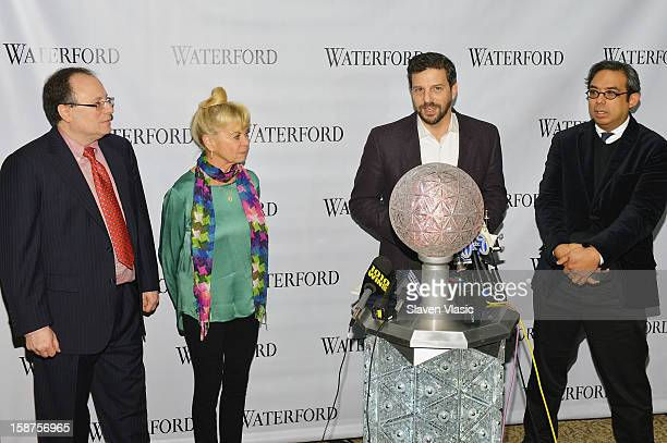 Jeffrey Straus Kari Clark Tim Tompkins and Regan Iglesia attend the installation of 288 New Waterford Crystals on the 2013 Times Square New Year's...