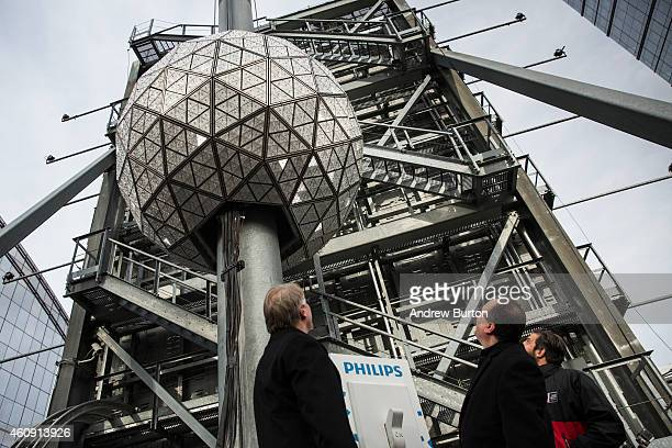Jeffrey Straus president of Countdown Entertainment and Brent Shafer CEO of Philips North America watch as the Times Square crystal ball is tested...