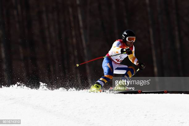 Jeffrey Stuut of Netherlands competes in the Men's Giant Slalom Run 1 Standing at Alpensia Biathlon Centre on day five of the PyeongChang 2018...