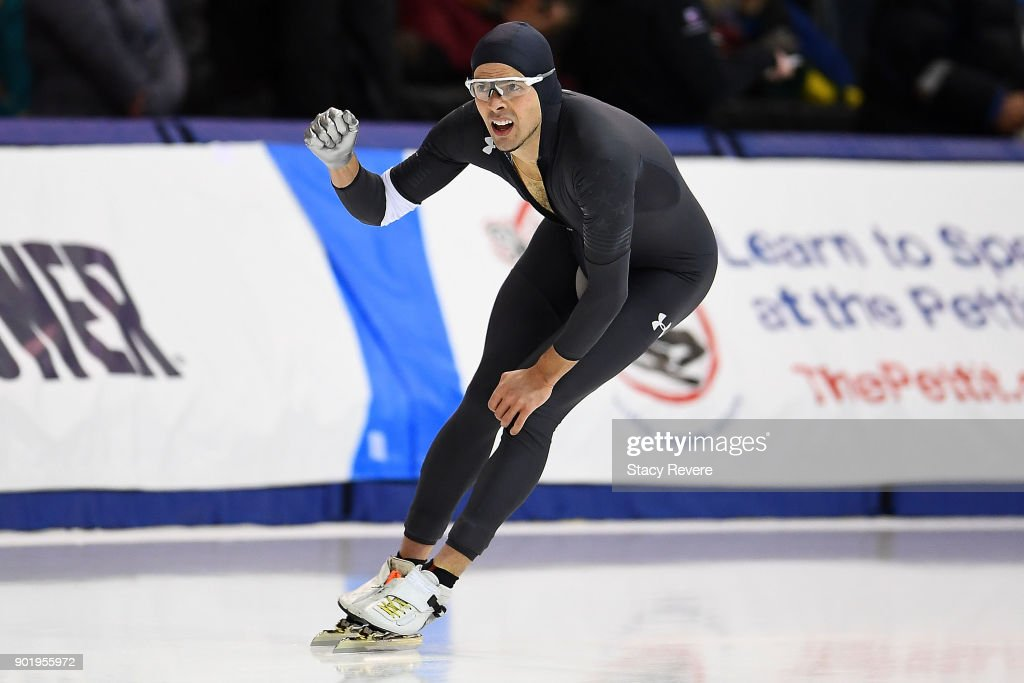 Jeffrey Swider-Peltz competes in the Men's 1500 meter event during the Long Track Speed Skating Olympic Trials at the Pettit National Ice Center on January 6, 2018 in Milwaukee, Wisconsin.