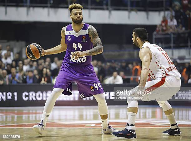 Jeffrey Taylor of Real Madrid in action against Branko Lazic of Crvena Zvezda during the 2016/2017 Turkish Airlines EuroLeague Regular Season Round...