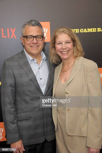 Jeffrey Toobin and Amy Bennett McIntosh attend Five Came Back world premiere at Alice Tully Hall at Lincoln Center on March 27 2017 in New York City