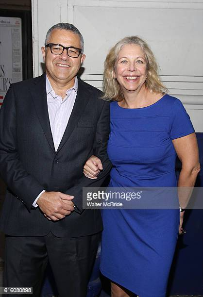 Jeffrey Toobin and Amy Bennett McIntosh attend the Broadway Opening Night performance of The Front Page at the Broadhurst Theatre on October 20 2016...