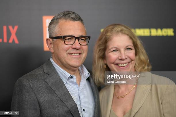 Jeffrey Toobin and Amy Bennett McIntosh attends the Five Came Back world premiere at Alice Tully Hall at Lincoln Center on March 27 2017 in New York...