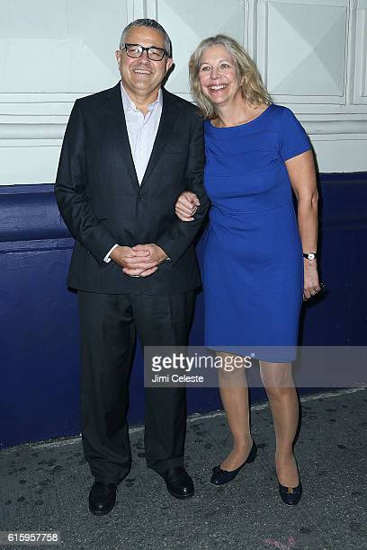 Jeffrey Toobin and Amy Bennett McIntosh attends the Opening of Broadway's AllStar The Front Page at the Broadhurst Theatre on October 20 2016 in New...