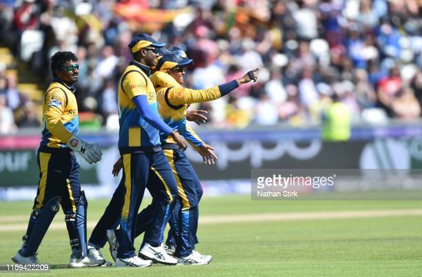 Jeffrey Vandersay of Sri Lanka celebrates as he catches Chris Gayle of West Indies during the Group Stage match of the ICC Cricket World Cup 2019...