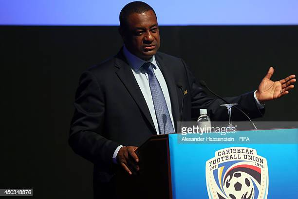 Jeffrey Webb CONCACAF President speaks at the CFU confederation congress at Sheraton Sao Paulo WTC hotel on June 9 2014 in Sao Paulo Brazil