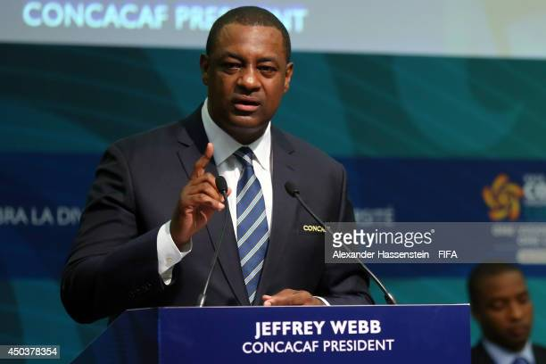 Jeffrey Webb CONCACAF President speaks at the CONCACAF confederation congress at Sheraton Sao Paulo WTC hotel on June 10 2014 in Sao Paulo Brazil