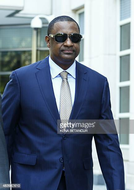 Jeffrey Webb ex FIFA vice president leaves from his hearing at the Brooklyn Federal Courthouse in New York on August 14 2015 Webb pleaded not guilty...