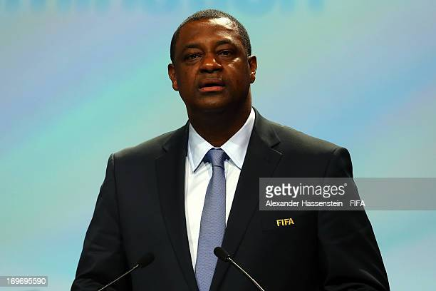Jeffrey Webb FIFA Executive Committee Member and Chairman of the Task Force Against Racism and Discrimination speaks during the 63th FIFA Congress at...