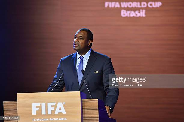 Jeffrey Webb FIFA Executive Committee member talks during the 64th FIFA Congress at the Transamerica Expo Center on June 11 2014 in Sao Paulo Brazil