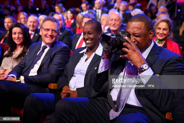 Jeffrey Webb FIFA VicePresident and CONCACAF President takes pictures prior to the Final Draw for the FIFA Women's World Cup Canada 2015 at Canadian...