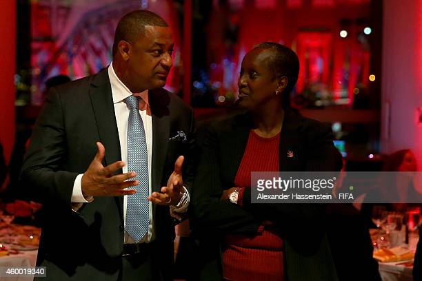 Jeffrey Webb FIFA VicePresident and CONCACAF President talks to Lydia Nsekera chairwoman of the Committee for Women's Football and the FIFA Women's...