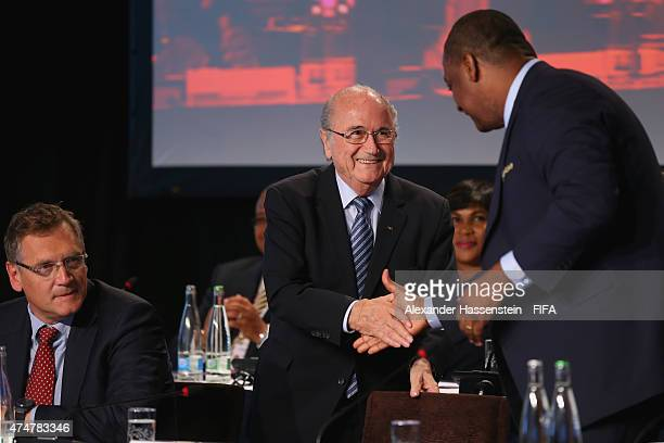 Jeffrey Webb FIFA VicePresident and CONCACAF President welcomes FIFA President Joseph S Blatter for the CONCACAF confederation meeting at Renaissance...